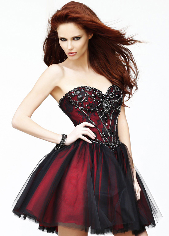 short red and black wedding dresses