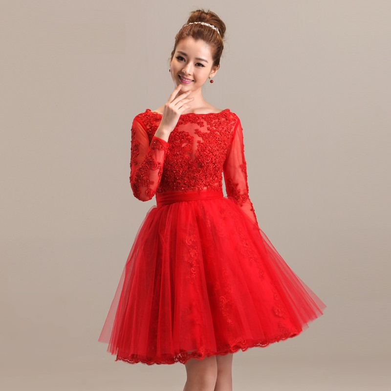 Short Red Wedding Dress With Long Sleeves