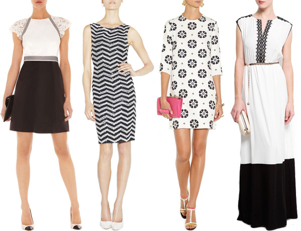 beautiful black and white wedding guest outfits