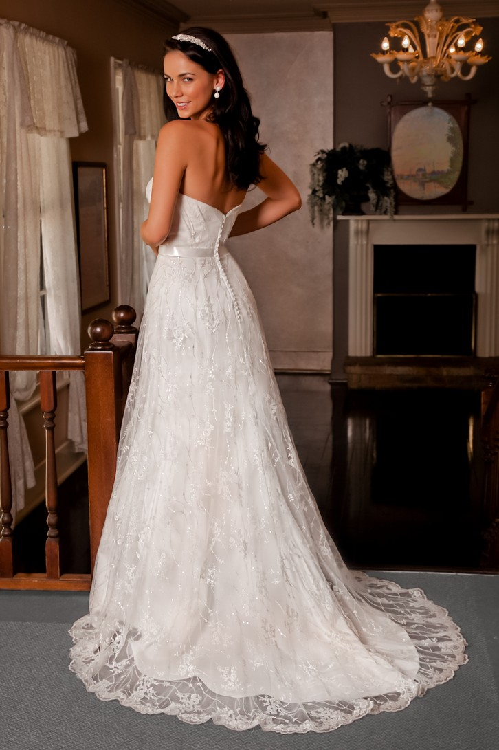 classic vintage lace wedding dress with open back