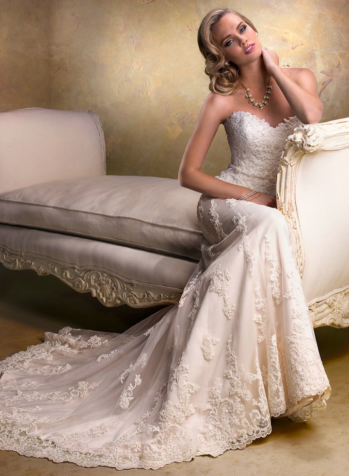 classic vintage lace wedding dress with strapless neckline