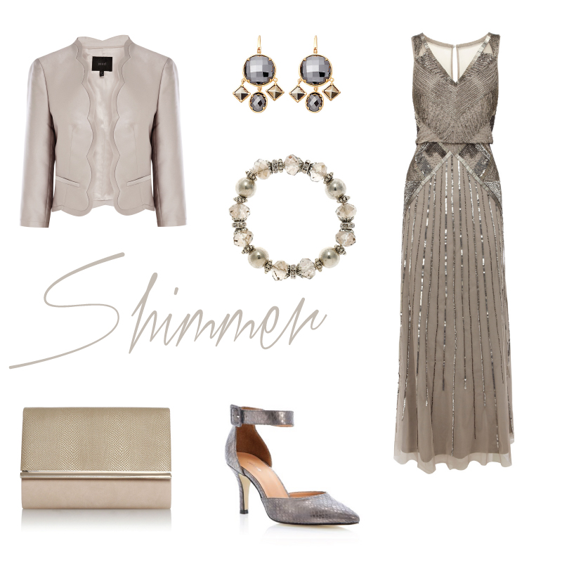 Shimmer and sparkling wedding guest outfits