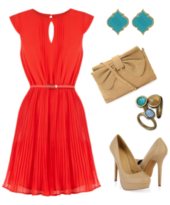 summer red wedding guest outfit