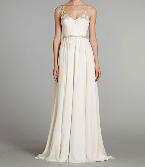 unusual floor length wedding dress with straps