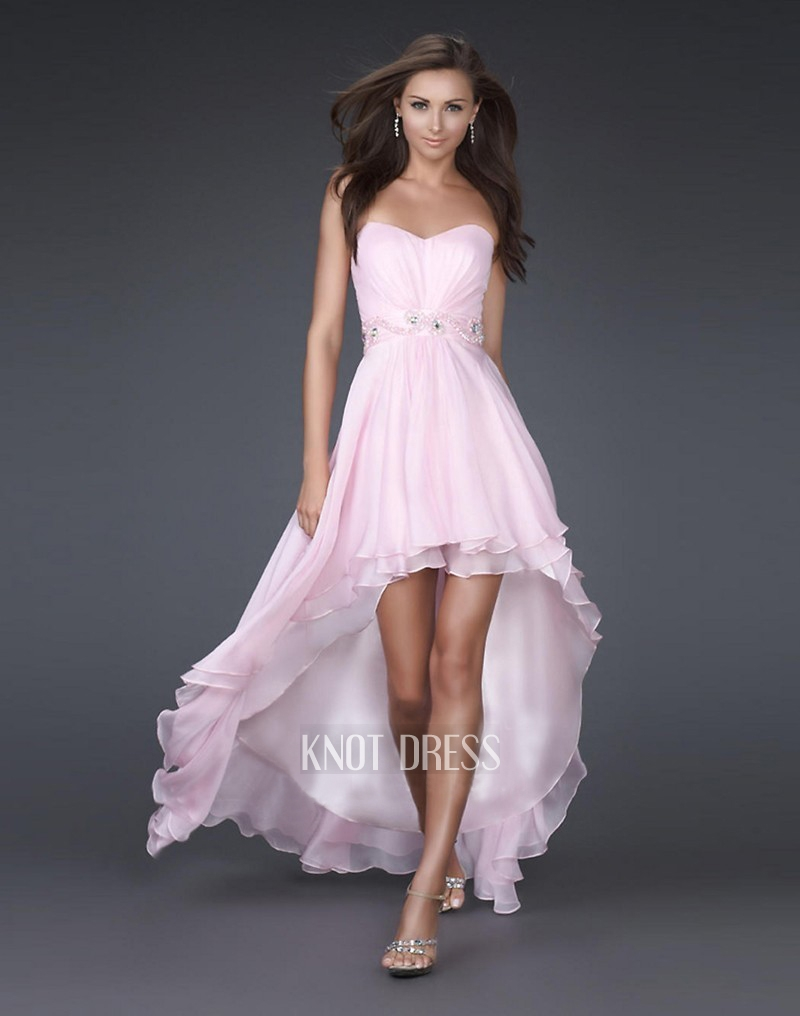Light Pink High Low Prom Dresses | Sang Maestro