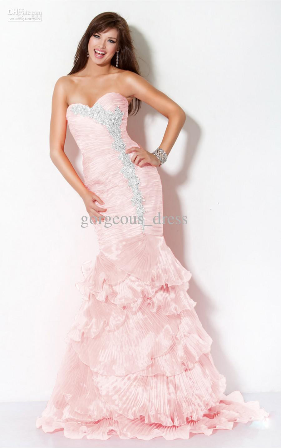 Light pink and gold prom dress 2017