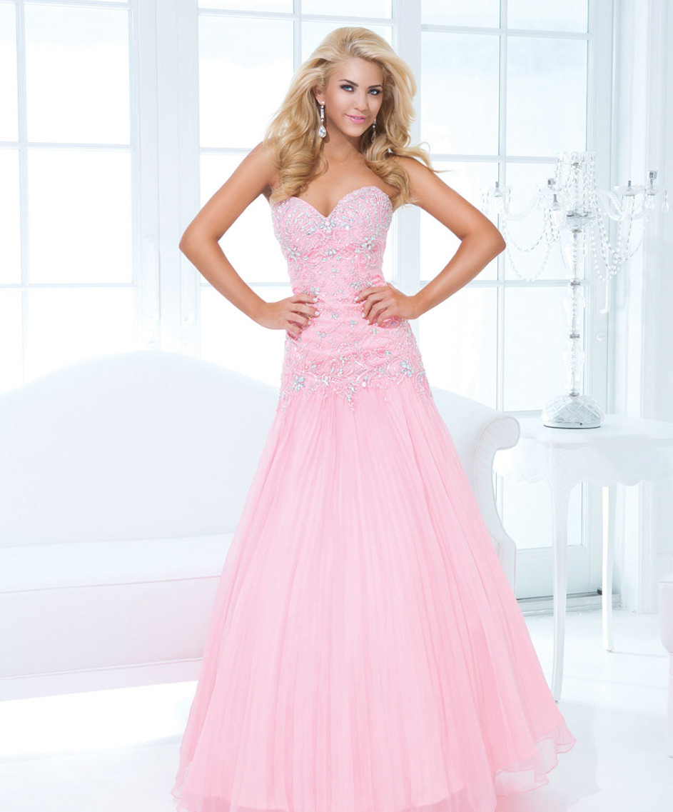 light pink strapless prom dress with a-line
