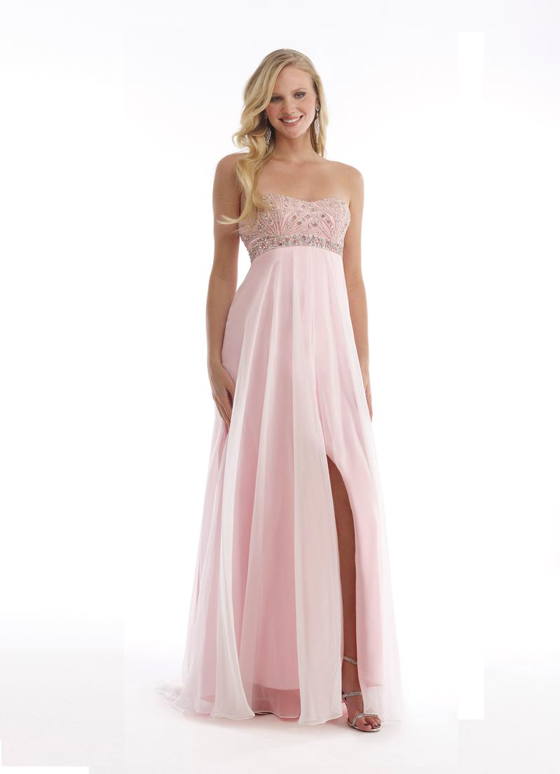 light pink strapless prom dresses
