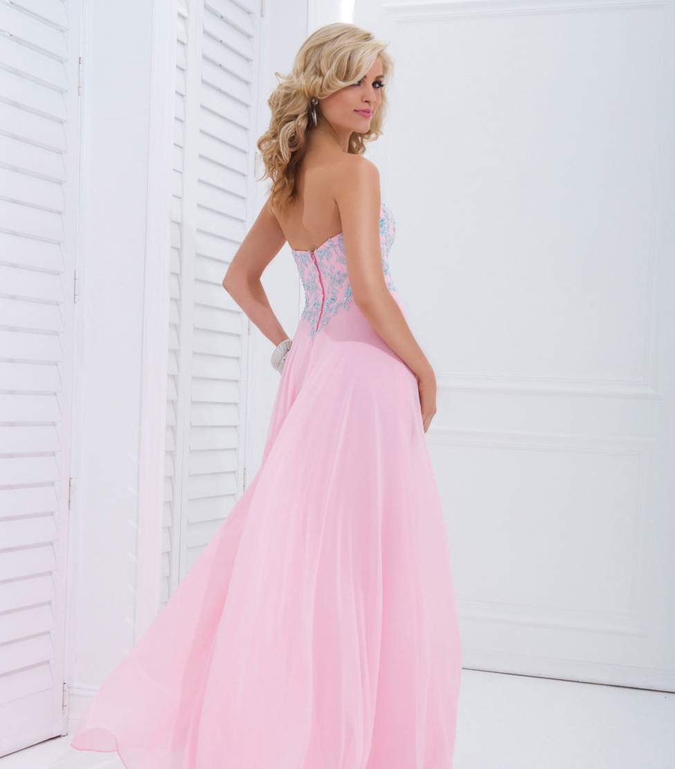light pink strapless sweetheart prom dress with blue floral lace