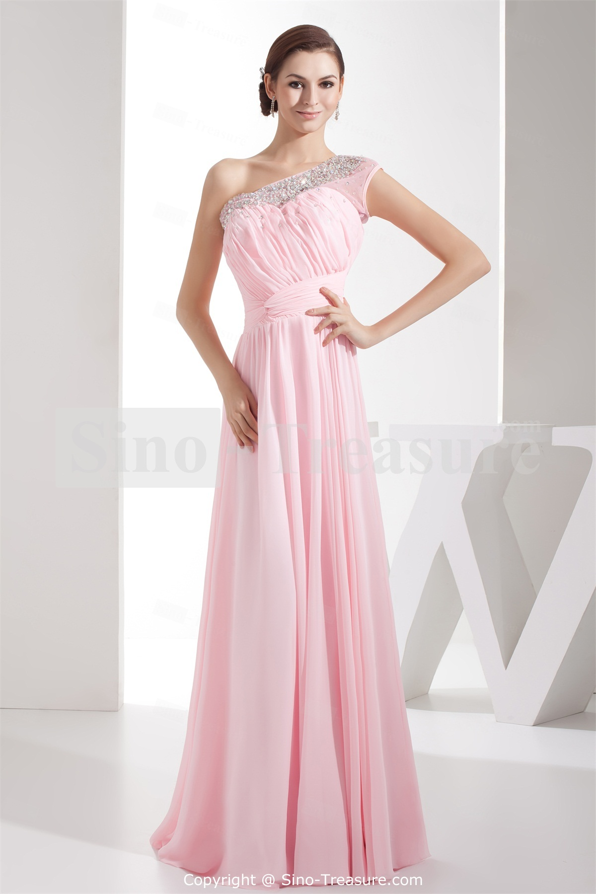 one shoulder light pink prom dress with floor length