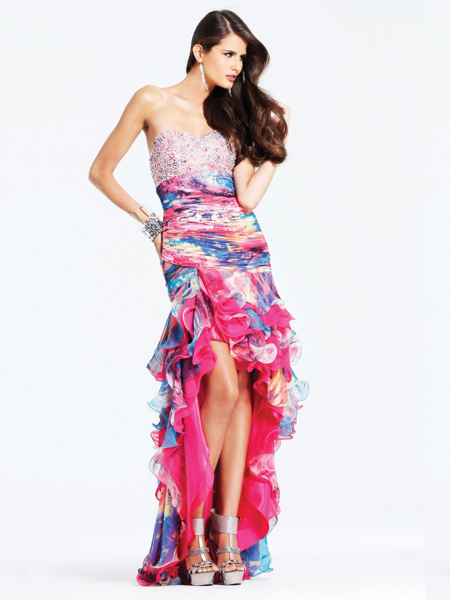 pink high low prom dress with rhinestones