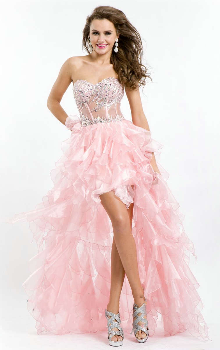 pink high low prom dress with sweetheart neckline