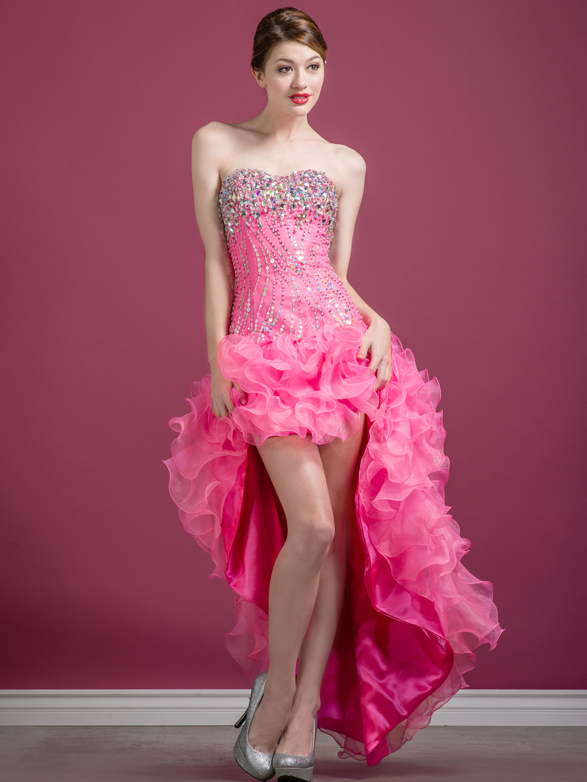 pink high low prom dresses