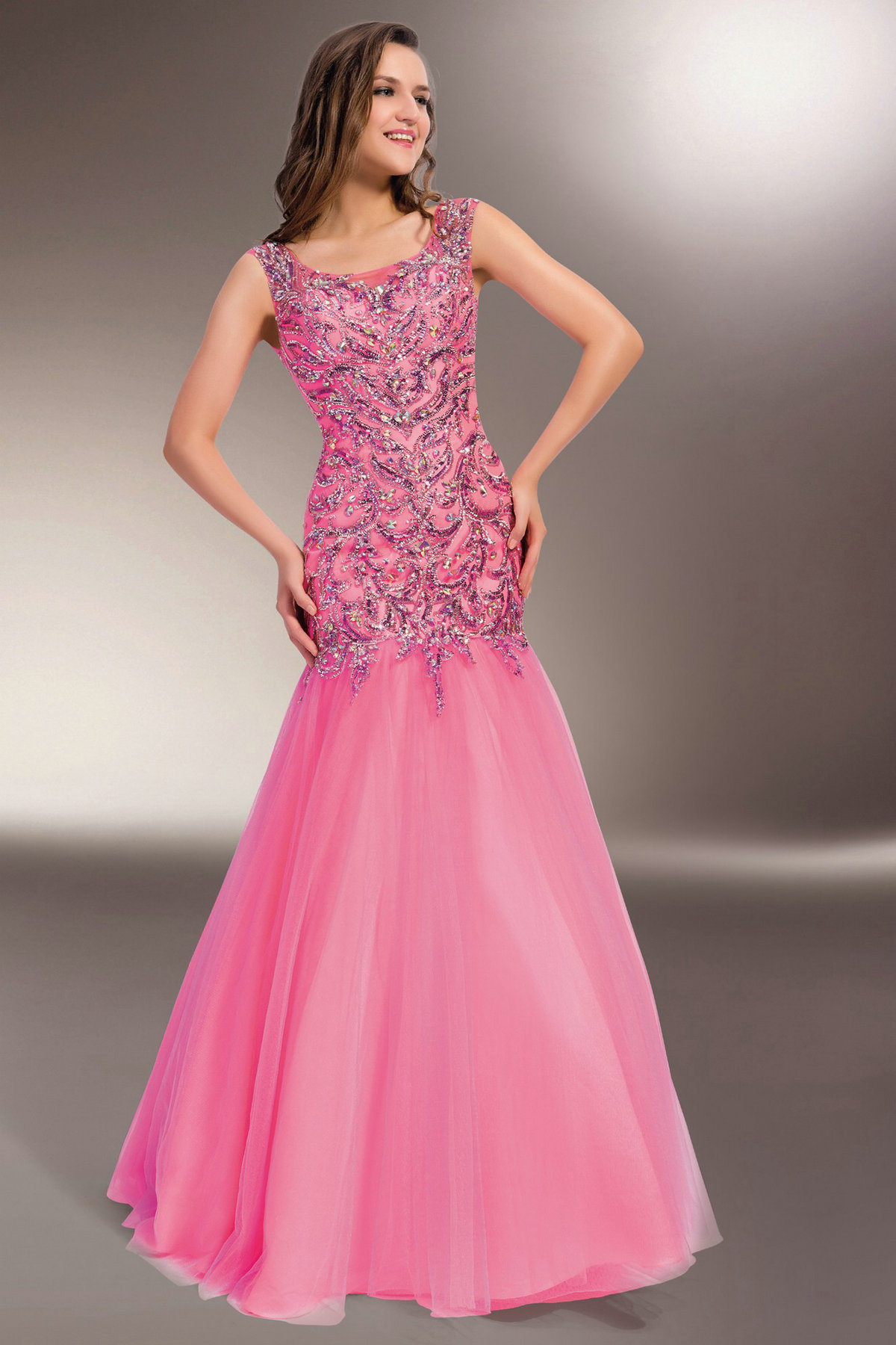 pink mermaid tulle beaded prom dress with scoop neckline