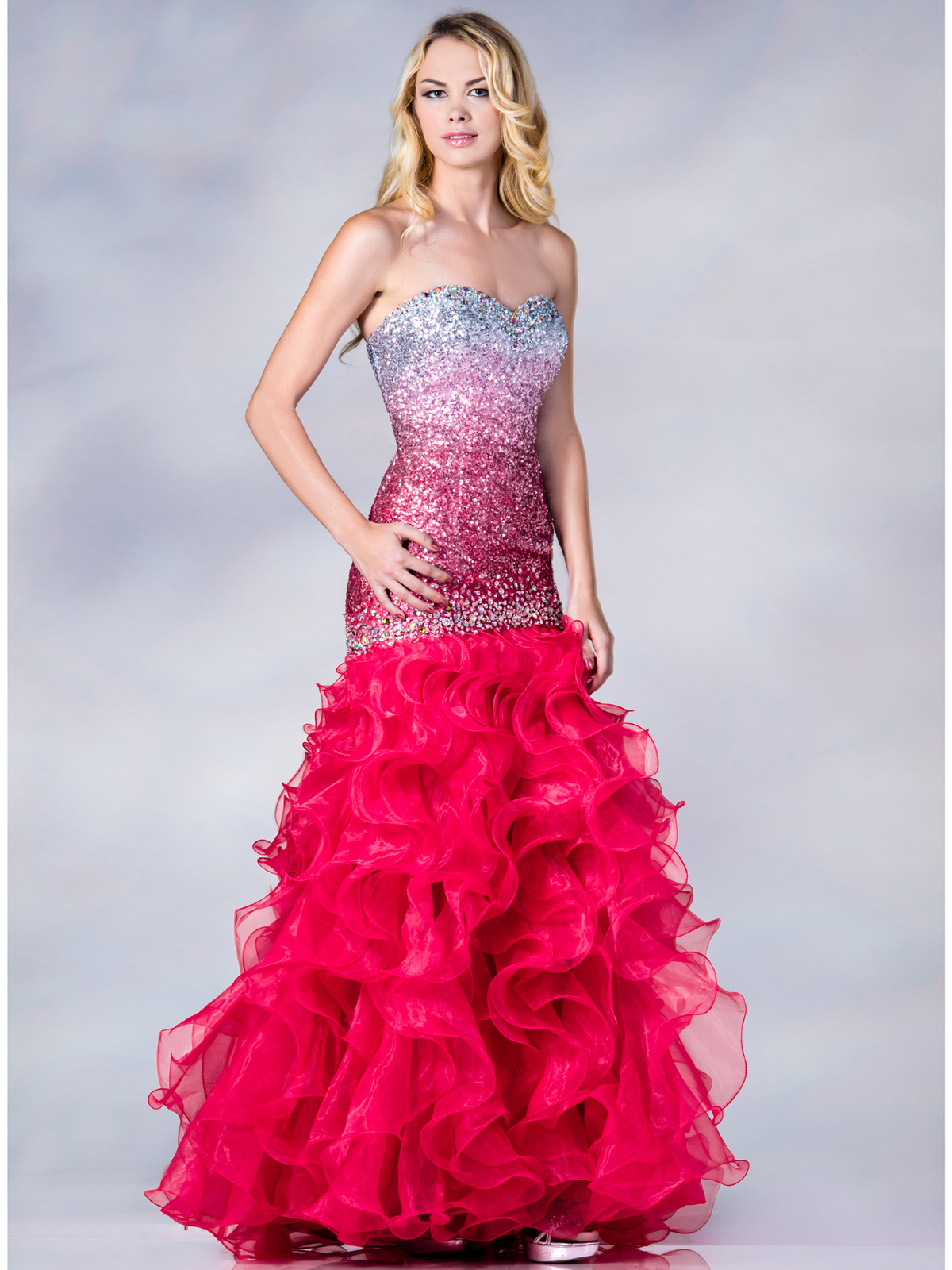 pink strapless mermaid prom dress sang maestro