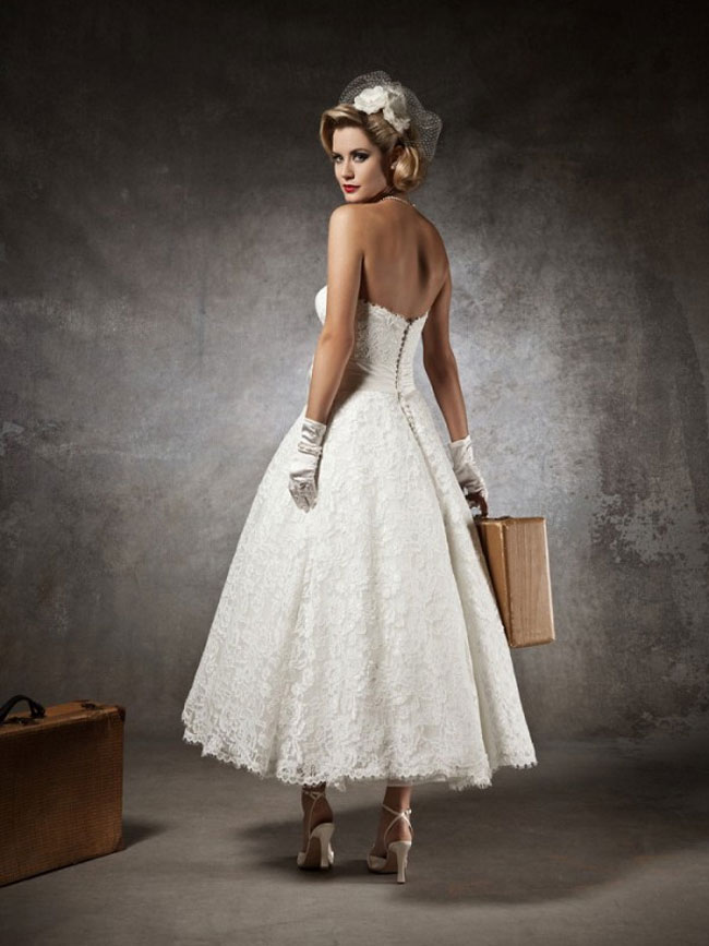 retro tea length strapless wedding dress with lace
