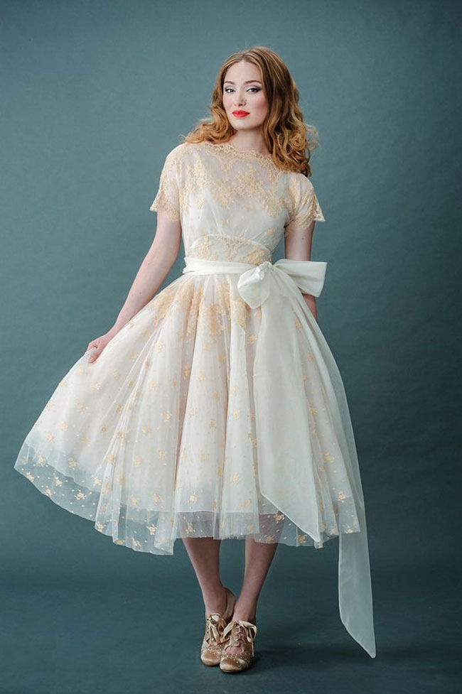 retro tea length wedding dress with gold lace
