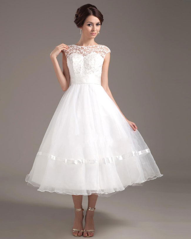 retro tea length wedding dresses