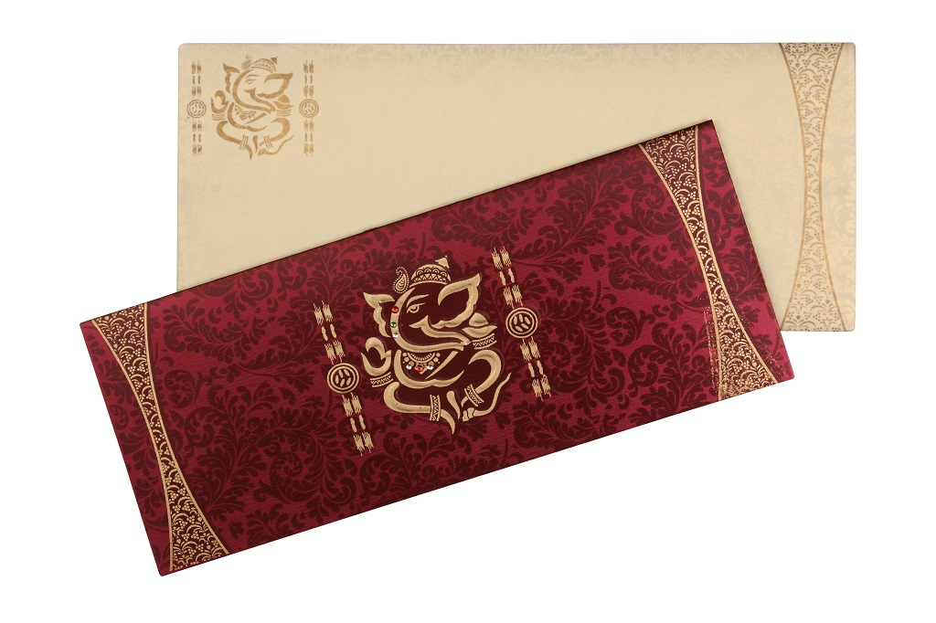 traditional wedding card with ganesh icon