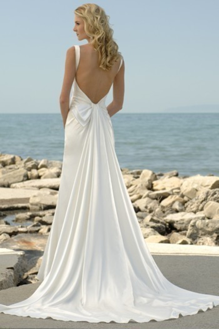 backless beach wedding gown with chapel train