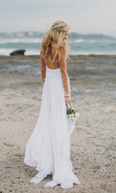 backless beach white wedding gown