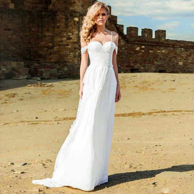 lace beach wedding gown with a-line