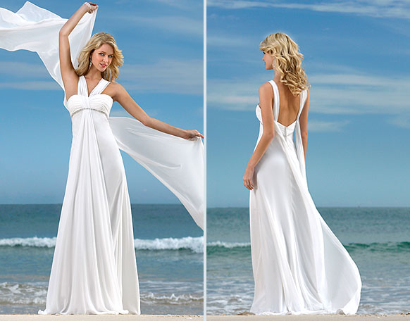 simple white beach wedding gown