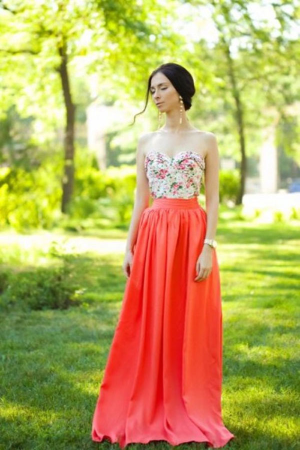 floor length pink spring wedding guest outfit ideas