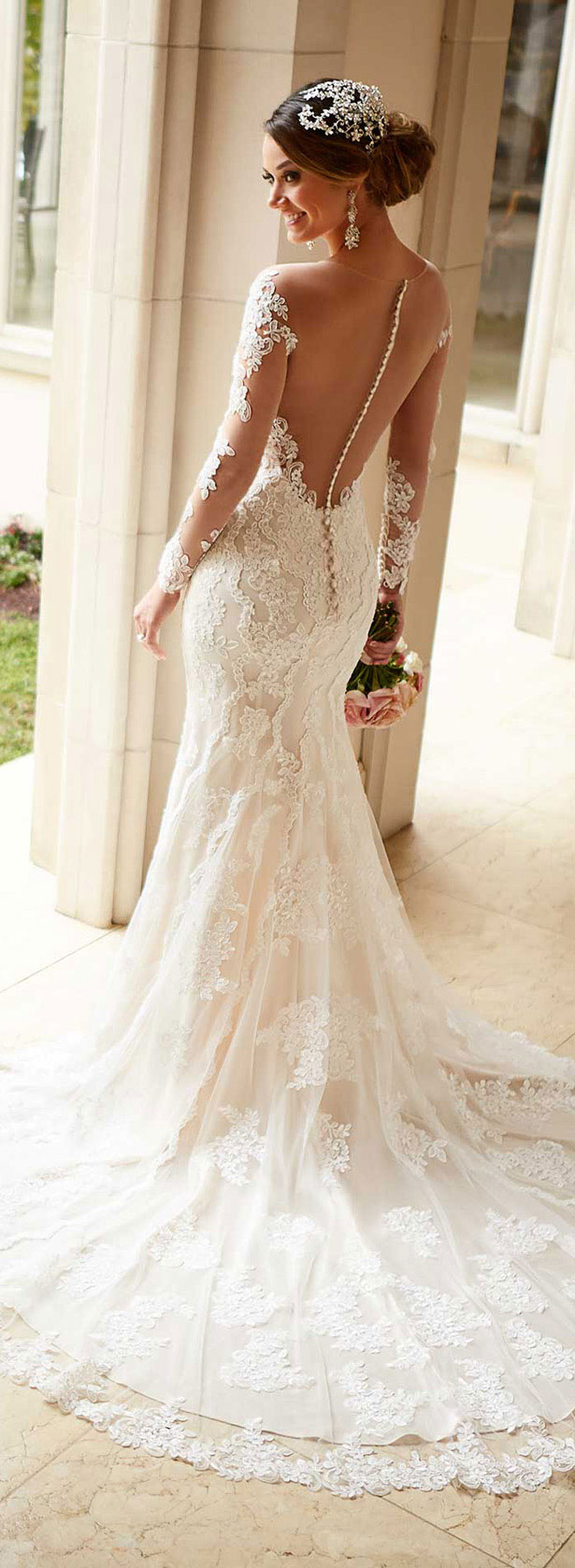 Stella York spring 2016 wedding dress with long lace sleeves