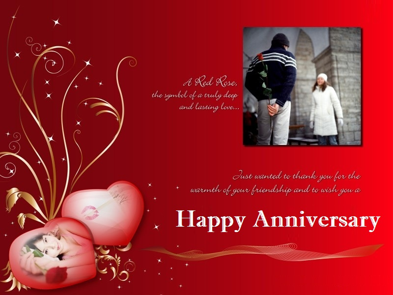 happy wedding anniversary card design in red