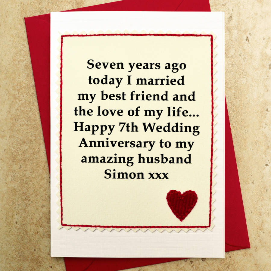 Simple sample wedding anniversary card for husband sang