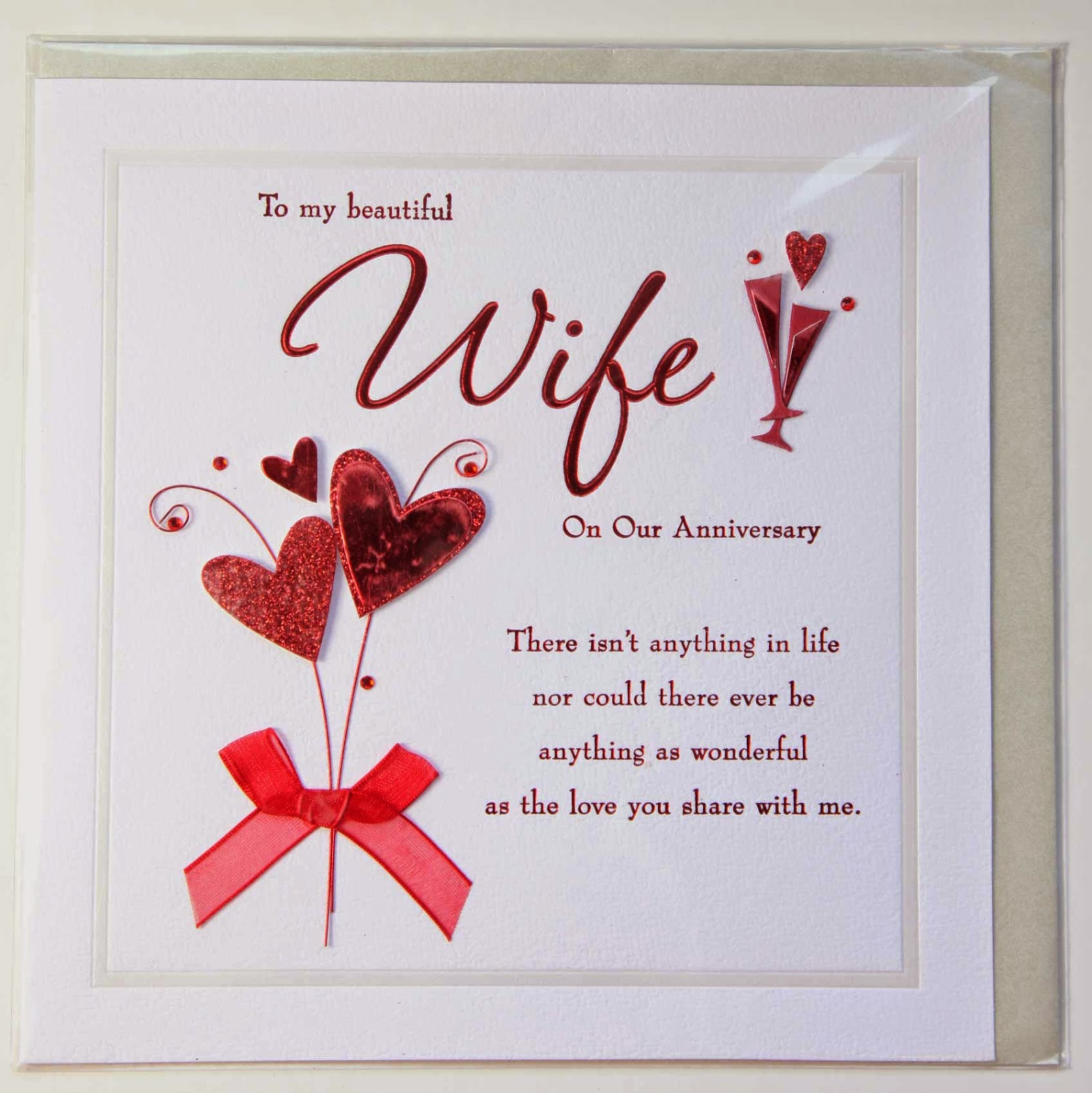 wedding anniversary card design for wife with quote