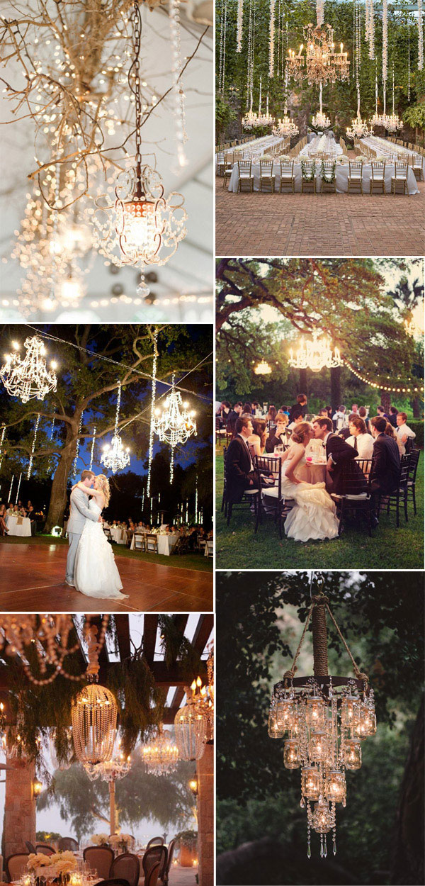 wedding reception decoration ideas with chandeliers