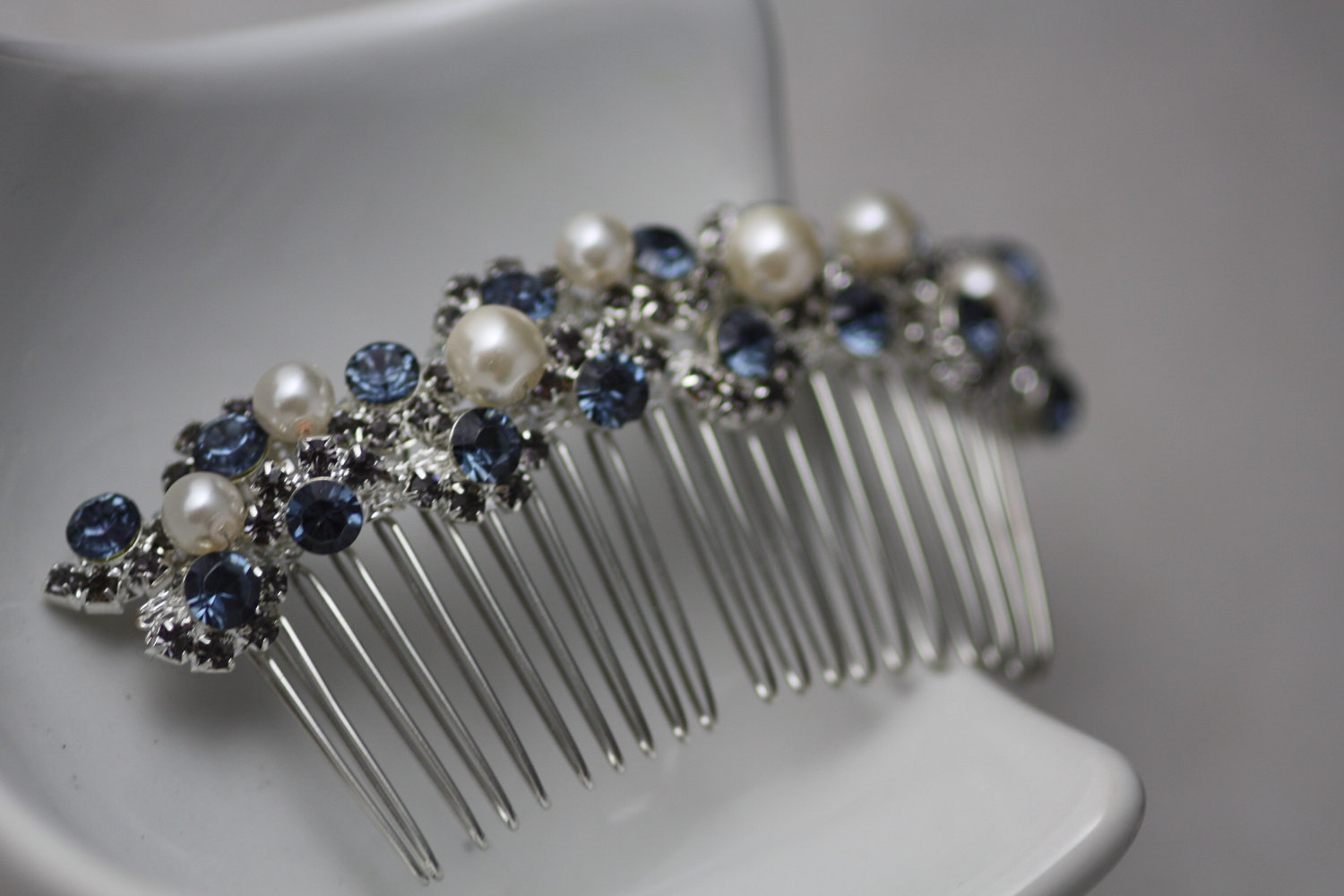Swarovski saphire and black diamond crystal and pearl bridal hair comb