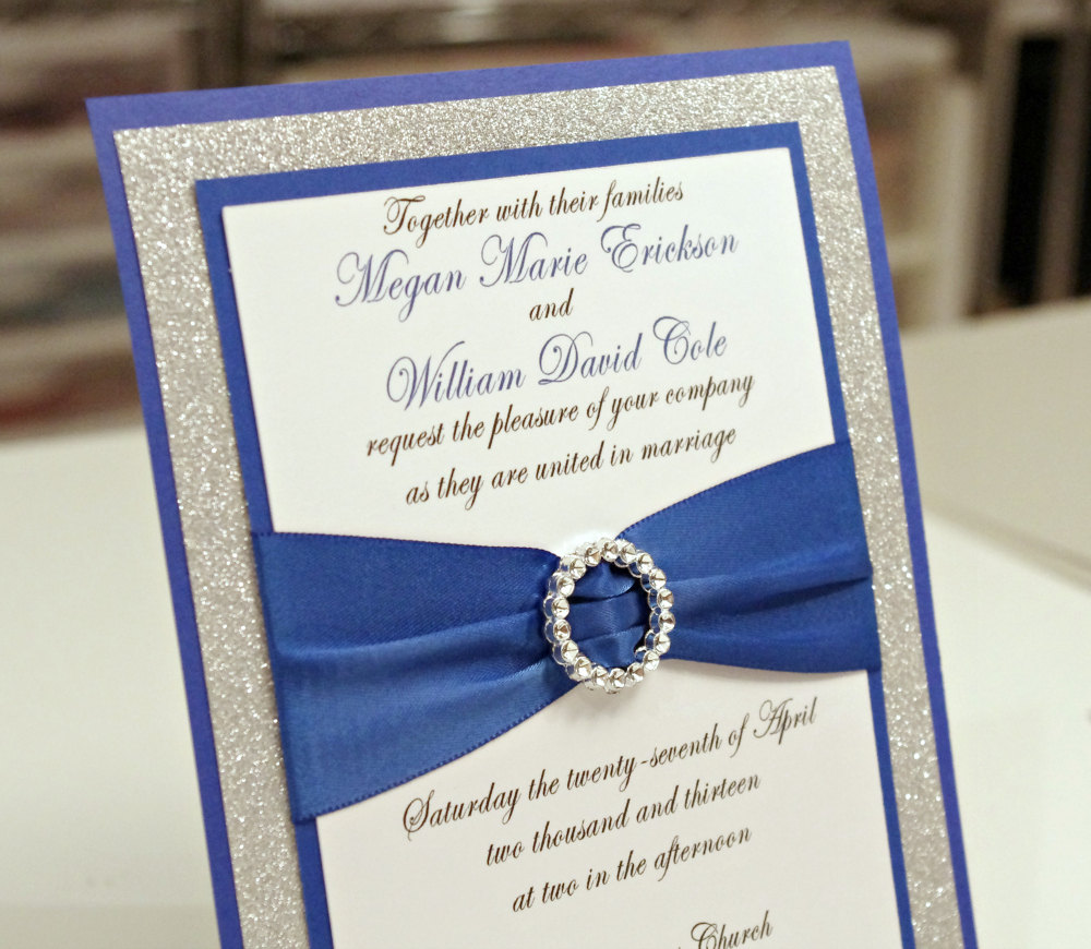 blue and silver wedding invitation idea