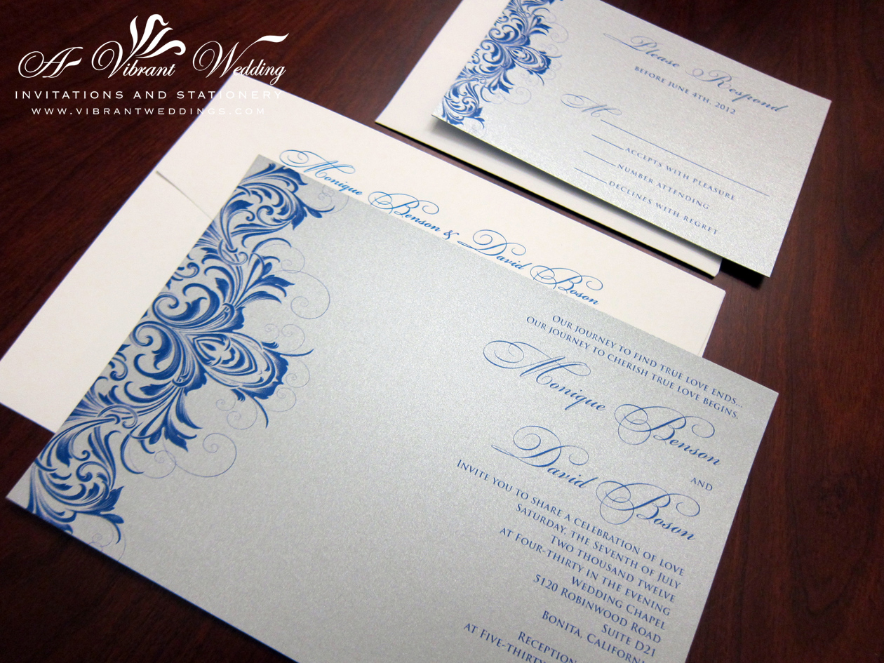 blue and silver wedding invitation