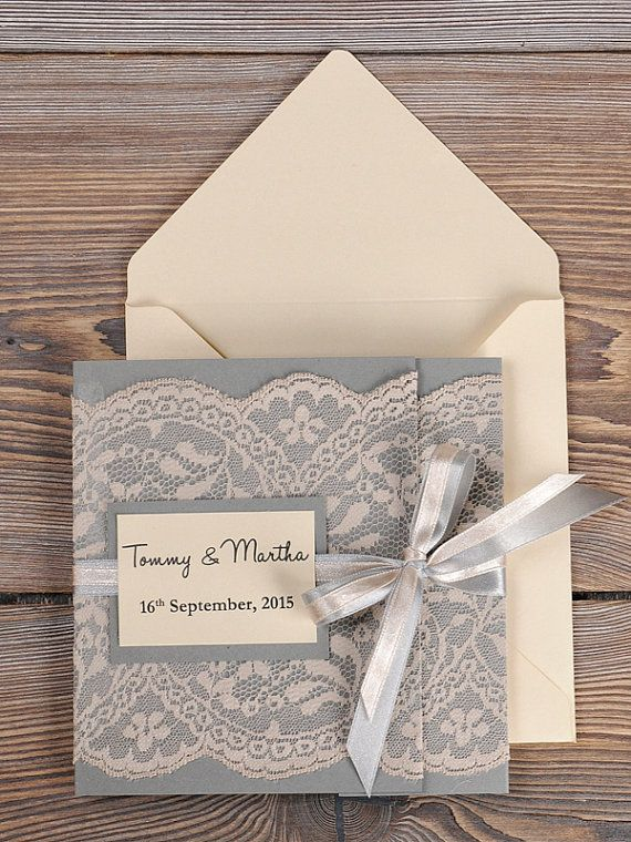 grey and peach lace wedding invitation with pocket