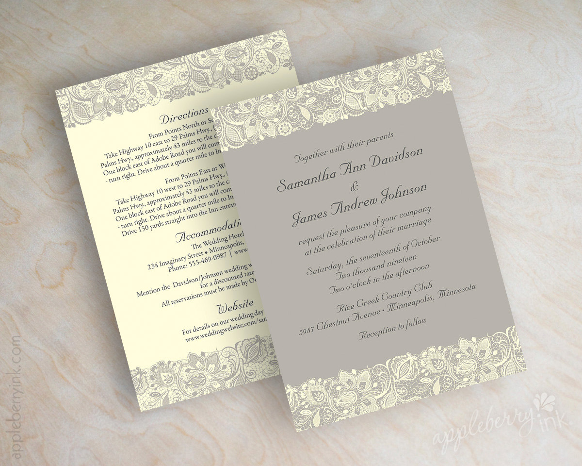 lace printed wedding invitations
