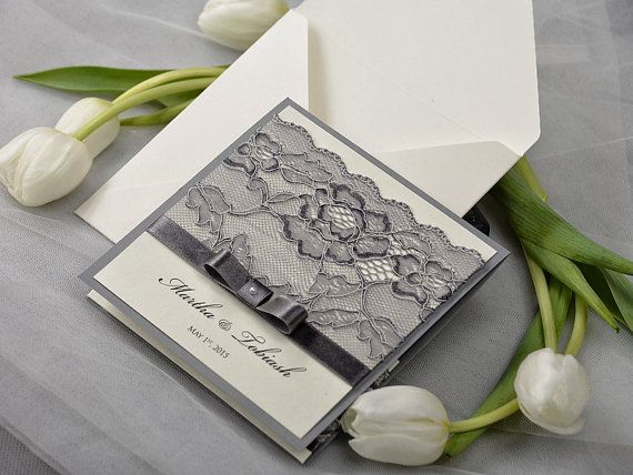 lace wedding invitation with pocket