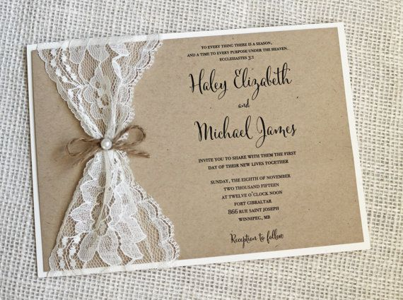 lace wedding invitation with rustic look