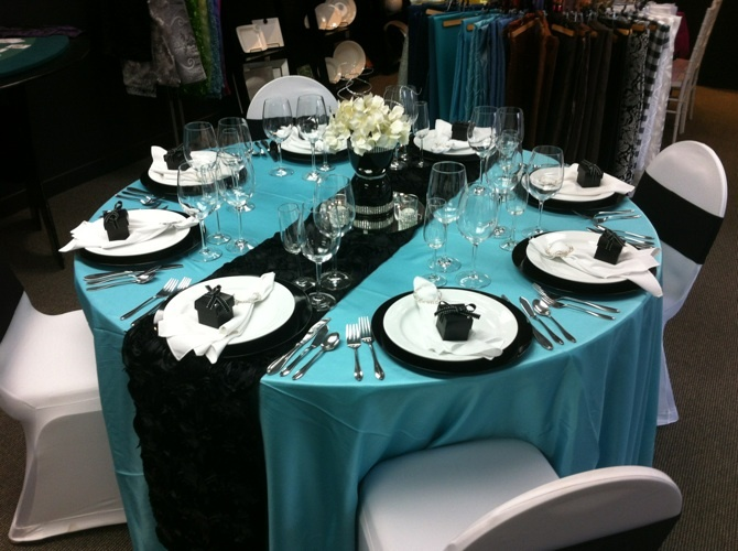 light blue and black wedding decorations