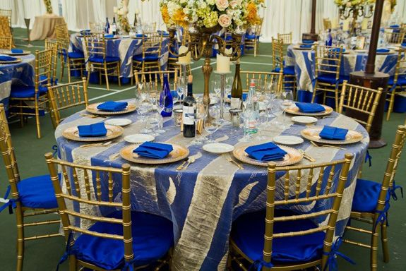 navy blue and gold wedding decoration