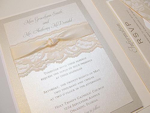 printed lace wedding invitation design idea