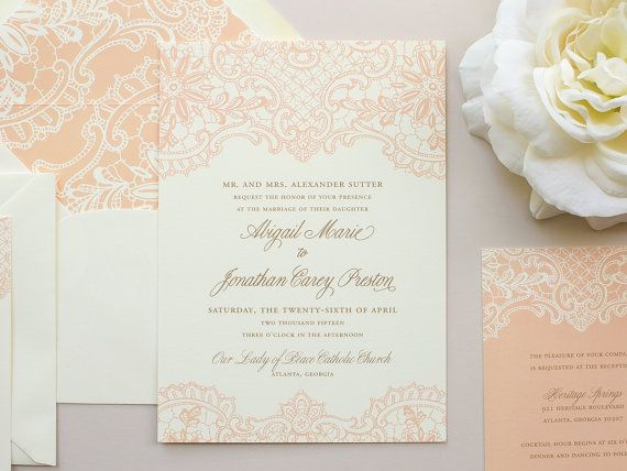 printed lace wedding invitation design