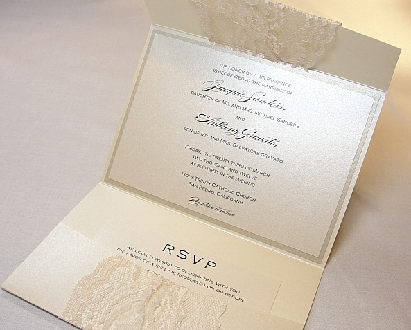 simple grey lace wedding invitation with pocket