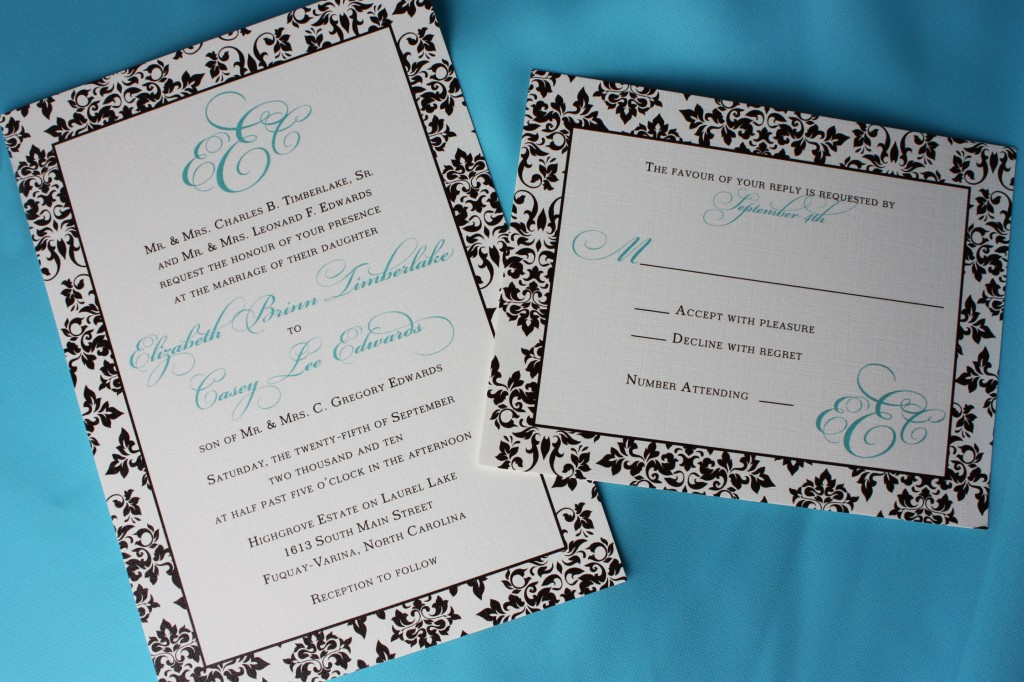 tiffany blue and brown wedding invitation design ideas