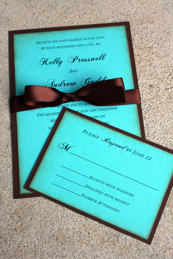 tiffany blue and brown wedding invitations