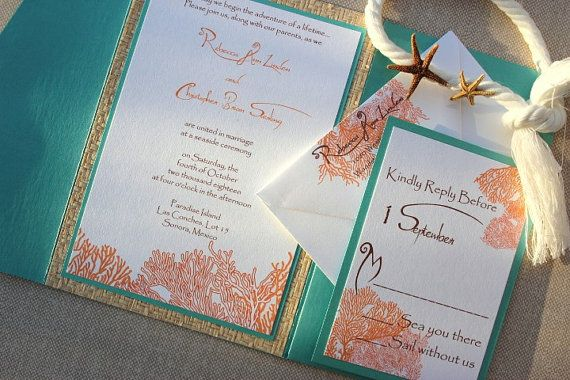 tiffany blue and coral wedding invitation