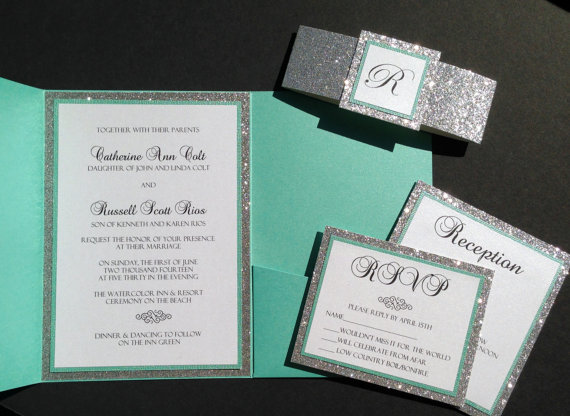 tiffany blue and grey wedding invitation Sang Maestro