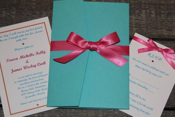 tiffany blue and pink wedding invitation